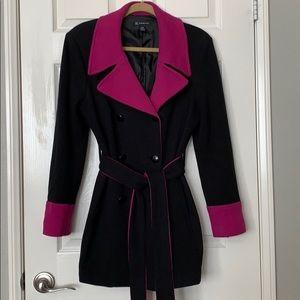INC International Concepts  Black and Fuchsia Coat